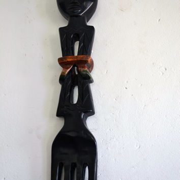 Art,  Authentic African Art, Handmade, Carved, Wood, African Mother, Family, Tribal, Afrocentric, African American Art, Kitchen Decor