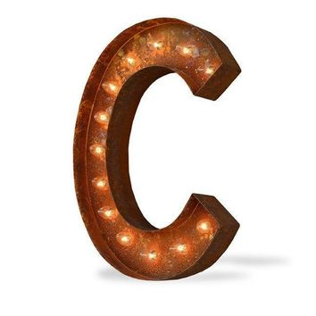 "24"" Letter C Lighted Vintage Marquee Letters (Modern Font/Rustic)"