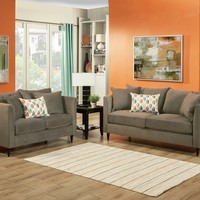 2 pc Jeff collection Taupe color fabric upholstered sofa and Love seat with curved arms