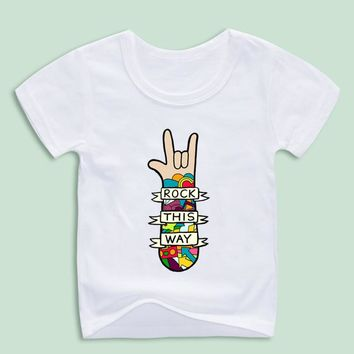 Kid's Rock This Way Music Design White Soft T-shirt