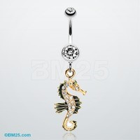Sparkling Seahorse Dangle Belly Ring