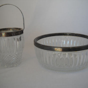 Vintage Cut Crystal Glass Bowl Set With Silver Plated Handle And Rim Diamond Cut Ice Container
