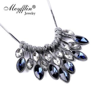 Meyfflin Statement Necklaces & Pendants Crystal Maxi Necklace for Women Female Chain Collar Collier