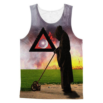 Fire on grass 3D print cotton men tanktop
