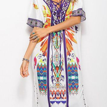 A| Chicloth Plunging neck Multicolor Midi Dress Shift Holiday Tribal Dress
