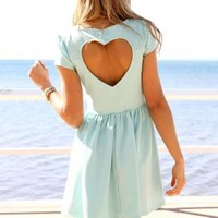 Mint Heart Cutout Back Dress with Cap Sleeves&Gathered Waist