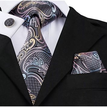 Men's Silk Coordinated Tie Set - Gray, Pink, Yellow, Blue Paisley