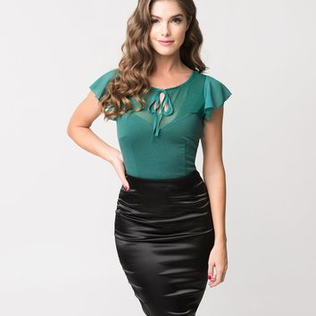 Voodoo Vixen Emerald Green Mesh & Chiffon Sam Sweetheart Top