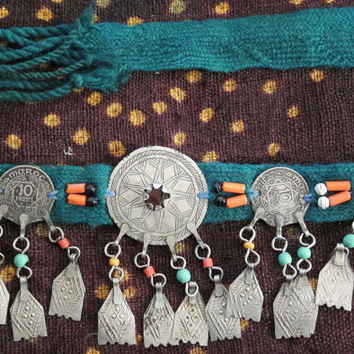 Berber Headpiece with Colorful Beads and old Metal Pieces and old Coins, Moroccan Sahara, Ethnic Tribal