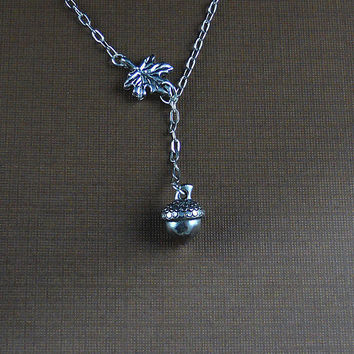 Antique Silver Pewter Acorn Leaf White Gold Plated Chain Necklace