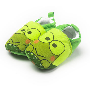 Fashion Lovely Frog Baby Shoes Green Animal Prints Cotton Fabric Slip-On First Walkers Soft Cotton Sole Shallow Baby Boy Shoes