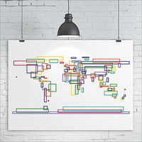 Square Outlines World Map Print