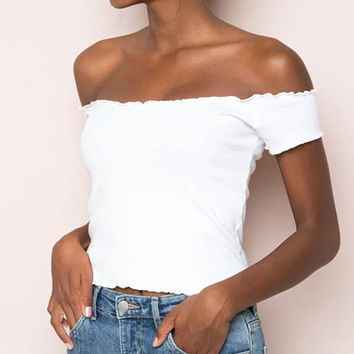 2017 women fashion Summer beach high elastic sexy white off shoulder strapless party slash neck knitted Tank Tshirt cropped Tops