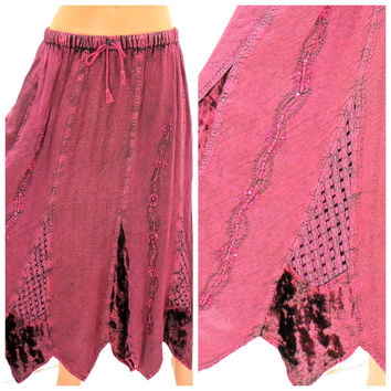 Boho gypsy maxi skirt size s / m, maroon festival skirt, acid washed embroidered long handkerchief bohemian skirt, SunnyBohoVintage
