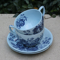 Johnson Brothers Elizabeth Blue Flower Cup & Saucer