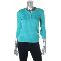 Karen Scott Womens Petites Cotton Cable Knit Sweater