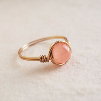 Brass Coral Jade Ring