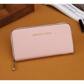 DCCKB62 MK Women Leather Zipper Wallet Purse