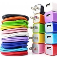 10x Wall Ac Charger Plus + USB 2.0 Sync/data Charging Charger 3ft Cable Cord (Oem) Iphone4 4g 4s 3gs Ipod-10 Pack-blue/black/green/hot Pink/purple/white/yellow /Pink/orange:Amazon:Cell Phones & Accessories