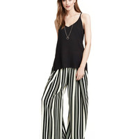 Striped Color Block Wide Leg Pants