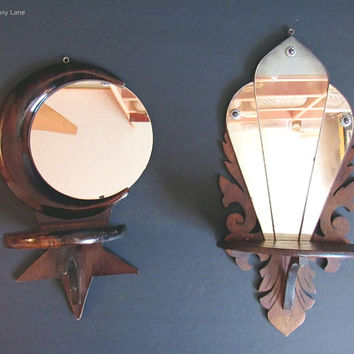 2 Vintage Handmade Mirror / Shelf Wall Hangings, Moon and Star / Fancy Art Deco Decor