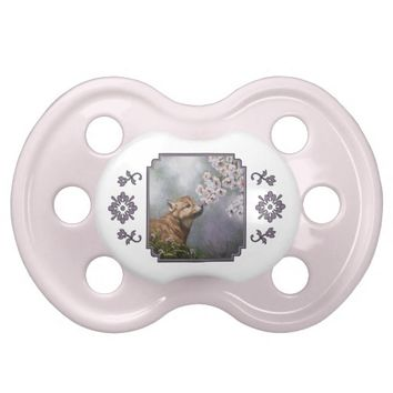Wolf Pup and Flowers BooginHead Pacifier