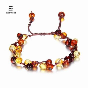EAST WORLD Baby Adult Amber Bracelet Anklet Best Natural Jewelry Gifts for Women Ladies Girls Handmade Multi Color Strand Bijoux