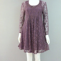 Purple Lace Dress Baby-doll Dress 1990's Grunge Dress Lace Gothic Dress Skater Dress Vintage Sheer Lace Dress