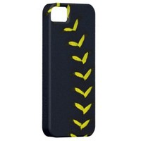 Black w/Yellow Stitches Baseball / Softball iPhone 5 Case from Zazzle.com