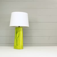 Lime Green Ceramic Lamp - Mid Century Vintage Lighting - Nursery Table Lamp with New Shade