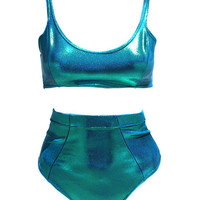 Bella High Wasited Swimsuit- Blue