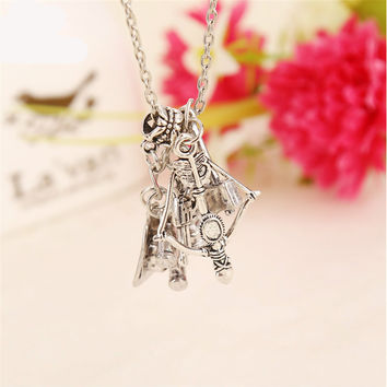 Walking Dead 5-in-1 Axe, Binoculars, Arrow, Gun, Lamp Shapes Pendant Necklace w/Chains