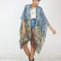 New Handcrafted Kimono in Sheer Grey Paisley print Fabric from House of Jam