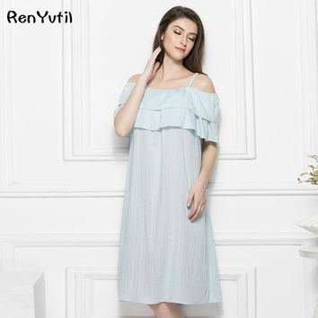 RenYvtil S-XL 2017 Summer Womens Cotton Sleepshirt Beautiful Ruffles Long Nightgown Sexy Off Shoulder Home Dress Loose Sleepwear