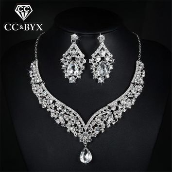 Earring and necklace sets AAA cubic zirconia & austrian crystal wedding jewelry bride