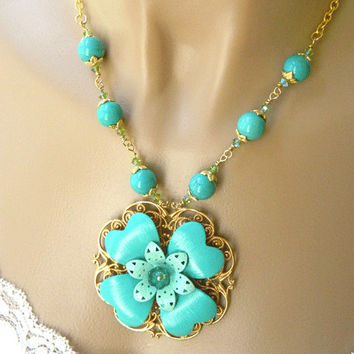 Unique Turquoise Howlite Necklace Handcrafted Flower Pendant Short Gold