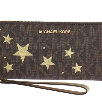Michael Kors Brown ILLUSTRATIONS Travel Continental Wallet