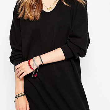 Black Long Sleeve V-Neck Sweatshirt