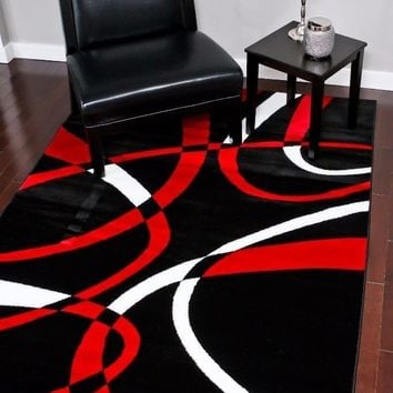 2035 Black Red Contemporary Area Rugs