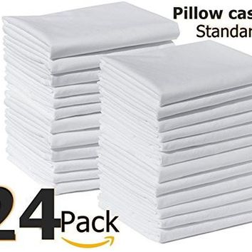 "(2 Dozen) Polycotton Bulk Pack of 24 standard size Pillowcases, White 200 Thread Count, 21""x30"" (Fits 20"" X26"" pillow)"