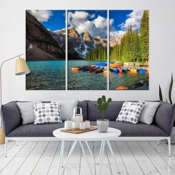 87658 - Canoes on Moraine Lake, Moraine Lake Canvas Print, Moraine Lake Canada Wall Art, Extra Large Landscape Wall Art Canvas Print, Framed Wall Art, Large Canvas, Housewarming Gift