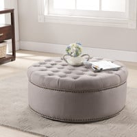 Baxton Studio Iglehart Beige Linen Modern Tufted Ottoman | Overstock.com Shopping - The Best Deals on Ottomans