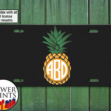 Pineapple Monogram Yellow Green Fruit Summer Tumblr Initials Cute Accessory Front License Plate Car Tag Vehicle Custom