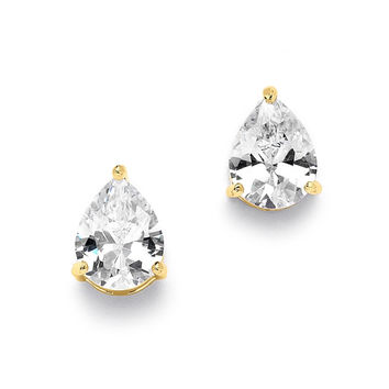 2.00 Ct. Cubic Zirconia Pear Shape Stud Gold Earrings