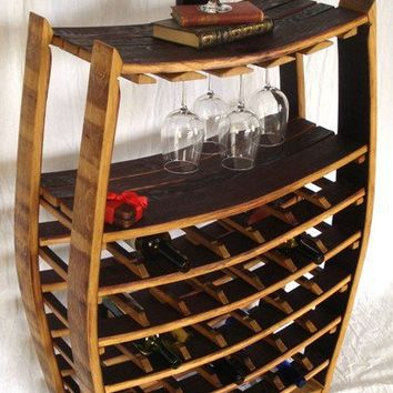 Large Wine Barrel Rack with glass holders by winecountrycraftsman
