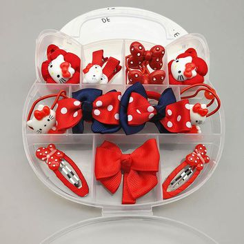 1 Gift Set Hello Kitty Hairpin Accessories For Baby Girls Kids Children Hair Clips Barrette Rubber Bands Headdress Accessories