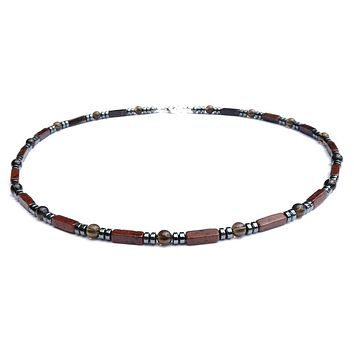 Mens Chakra Necklace Mahogany Obsidian Crystal Healing Stones Energy Balancing Jewelry Grounded and Protected MN18