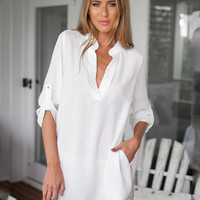 V-neck Long Sleeve Stand Colar Buttoned Shirt