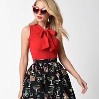 Retro Style Red Cotton Bow Tie Sleeveless Top