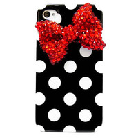 Bling Crystal Polka Dot Black White iphone 4 Case by jason118